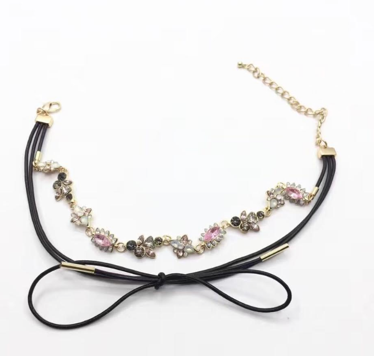 Crystal Flower Choker w/ Western Choker Tied in - 1 Piece