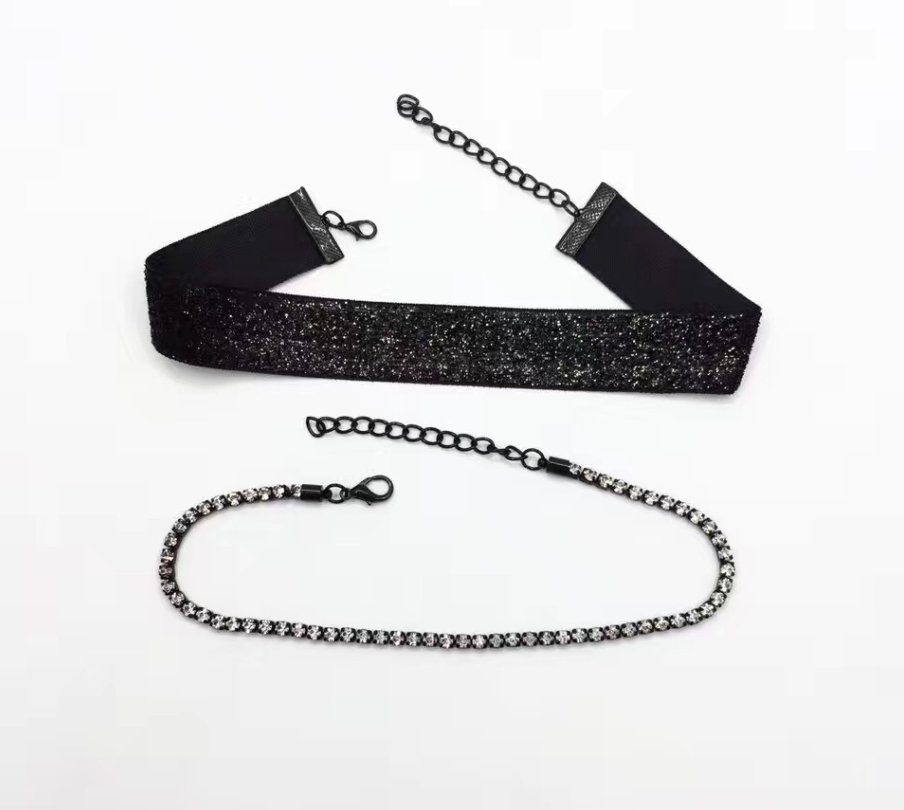 Frost Yourself Choker - Maroon, Black or Champagne Brown - 2 Pieces - Crystal Choker Included