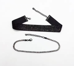 Choker - Maroon, Black or Champagne Brown - 2 Pieces - Crystal Choker Included