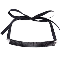Choker - Amrezy - Black Satin Wrap - Available in Clear Crystals, Red, Blue and Black