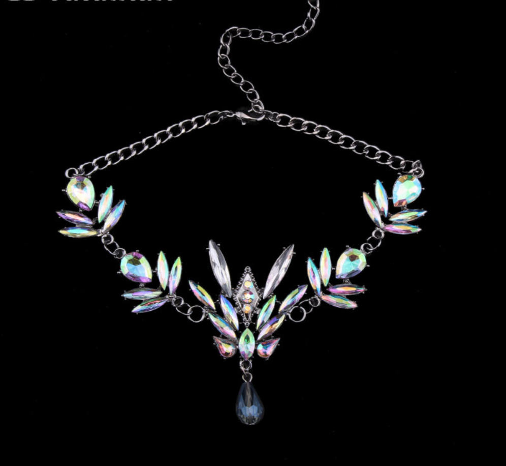 Choker - 2 Pieces - Black Wrap Included - Color Changing Opal Crystals - New 2017 Arrival