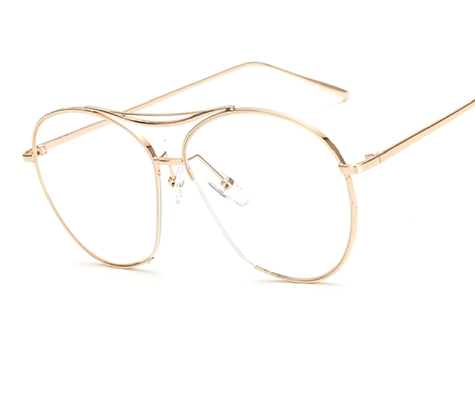 Retro Clear Frame - Gold or Silver Finish - X269