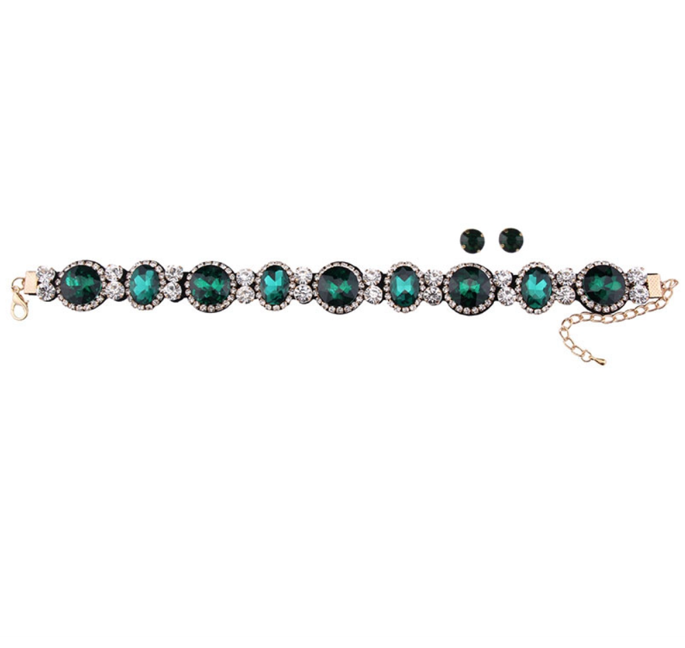 January Choker - Emerald Green or Ruby Red - Earrings Included