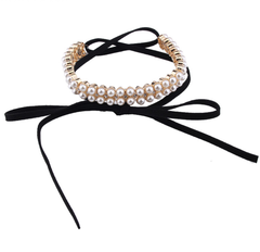 Pearl Black Wrap Choker - Gold or Silver Finish