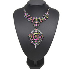 Dubai - Color Changing Opal Crystals - 2 Piece Detachable Includes Choker