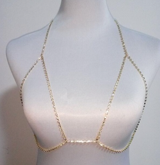 Bra Body Chain - Crystals - Silver or Gold