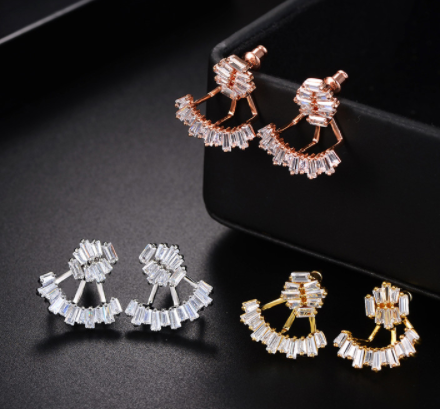 Baguette 2 Piece Cuff Earrings - Rose Gold Plated, 18K Gold Plated or Platinum Plated with Swarovski Cut Stones