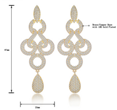 Yellow Gold Drop Earrings - 18K Gold Plated Earrings with Clear Crystals