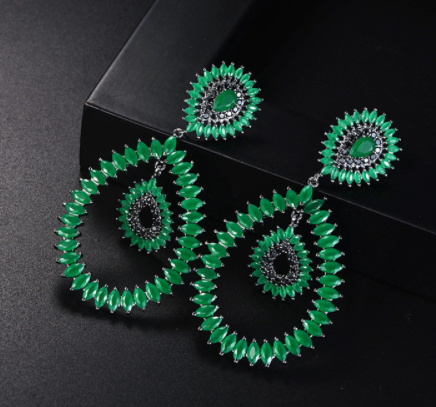 Black Gun Plated Earrings - Green Crystals