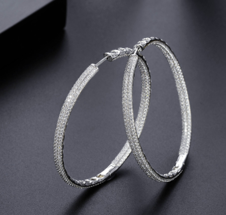 Hoop Earrings - Platinum Plated with Swarovski Cut Stones - Double Swarovski inside and out