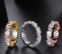 Baguette Ring - Rose Gold, 18K Gold or Platinum Plating w/ Swarovski Cut Stones