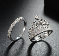 Crown Ring Set - Platinum Plated with Clear Cut Stones