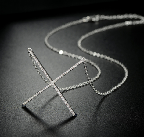 X Shaped Platinum Plated Necklace with Crystal Detail