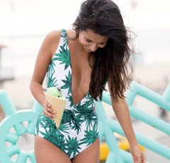 Palm Deep V - 1 Piece Swimwear