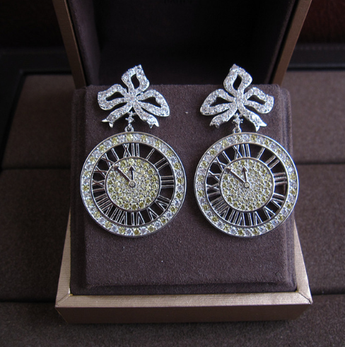 Time is Key Platinum Plated Earrings with Yellow & Clear Stones - Custom Earrings