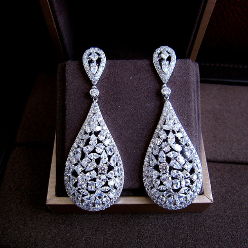 Water Drop Earrings - Platinum Plated with Clear Stones