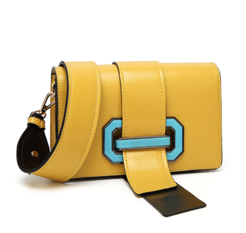 Yellow and Mirina Blue Handbag - Belt Clasp