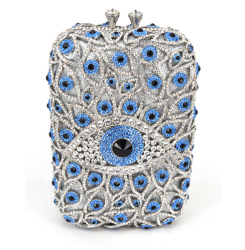 Mirina Evil Eye Handbag - Drenched in Australian Crystals - Silver and Mirina Blue