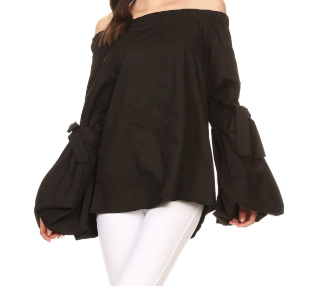 Ruffle Sleeve Top w/ Bow Tie Back - Black and White
