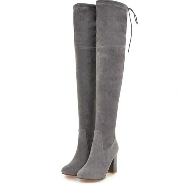 Over the Knee Suede Gray Boots - Gray - Wood Square Heel