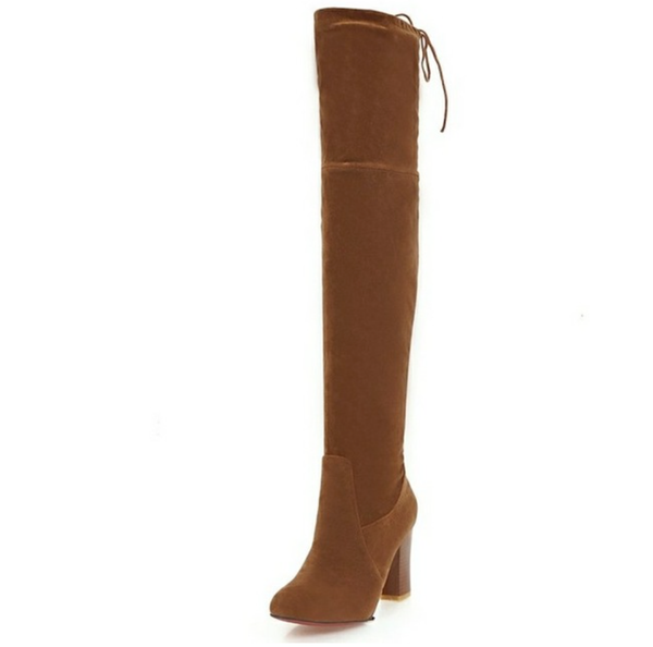 Over the Knee Suede Brown Boots - Brown - Wood Square Heel