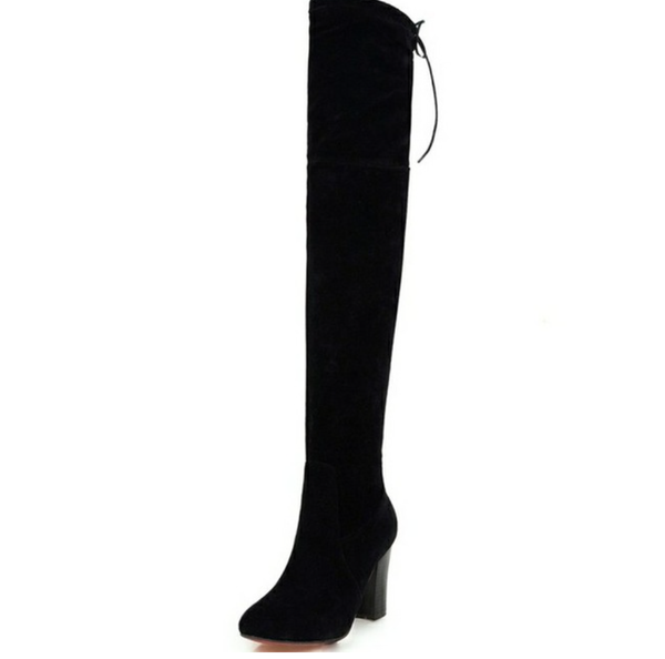 Over the Knee Suede Black Boots - Black - Wood Square Heel