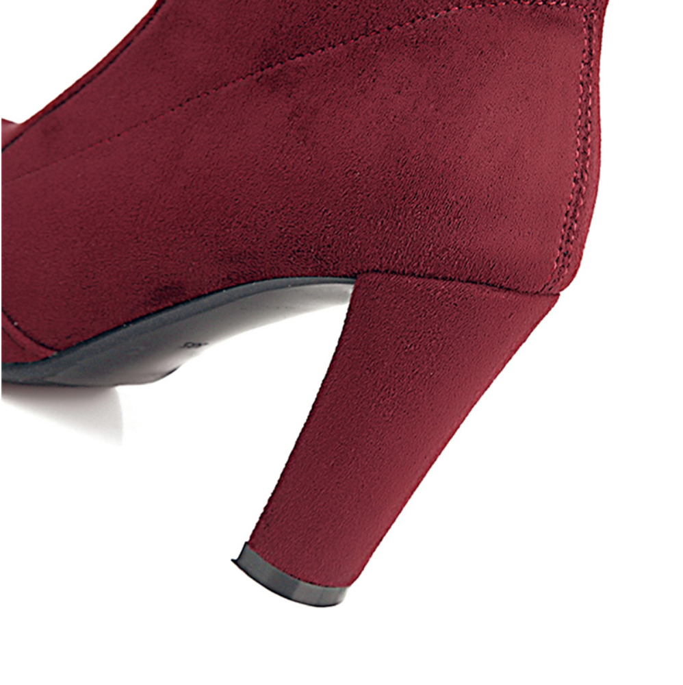 Over the Knee Suede Maroon Boots - Maroon - Trending