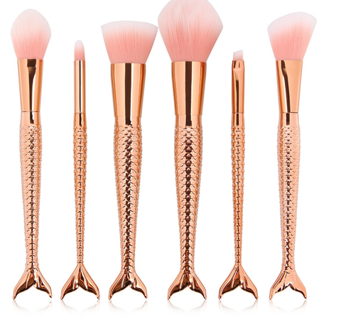 6 Piece Rose Gold Brush Set