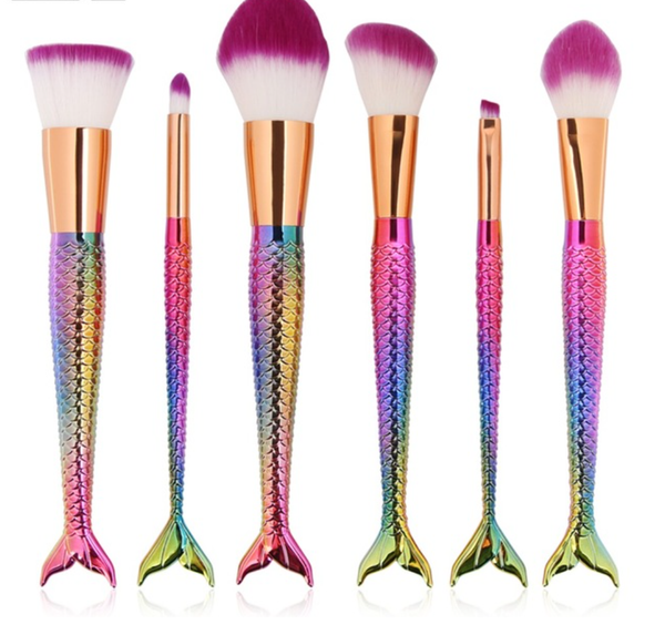 6 Piece Mermaid Brush Set