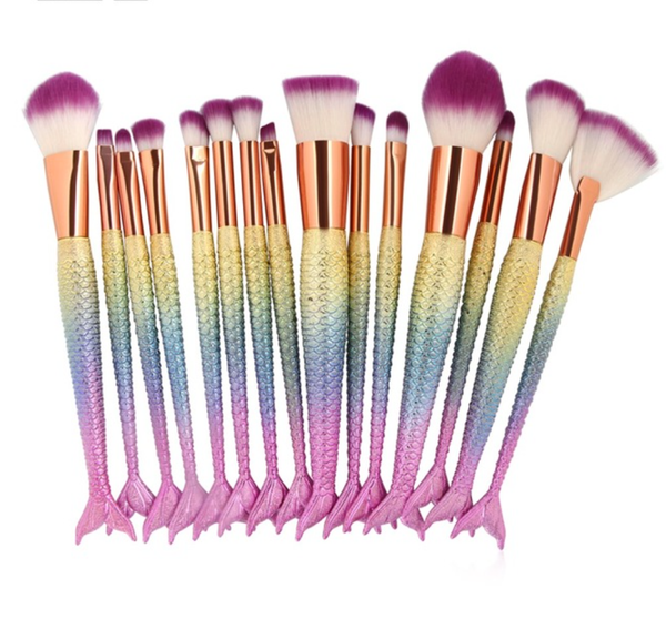 15 Piece Mermaid Full Brush Set