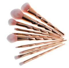 10 Piece Golden Diamond Brush Set