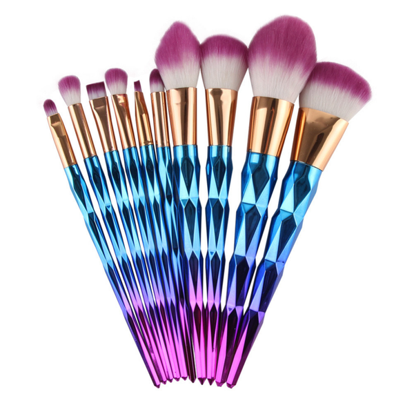 10 Piece Mermaid Diamond Brush Set