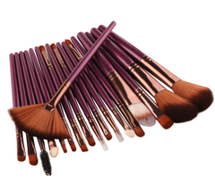 18 Piece Purple Brush Set - Includes Popular Fan Brush