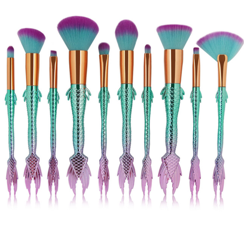 10 Piece Ultimate Purple and Teal Melt Brush Set