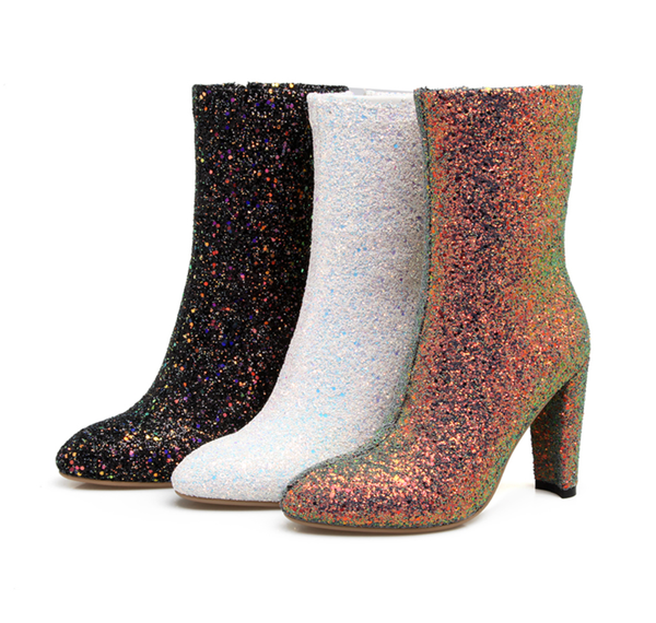 Sparkle Boots - The first to have! While Supplies Last - Black, Winter White and Champagne
