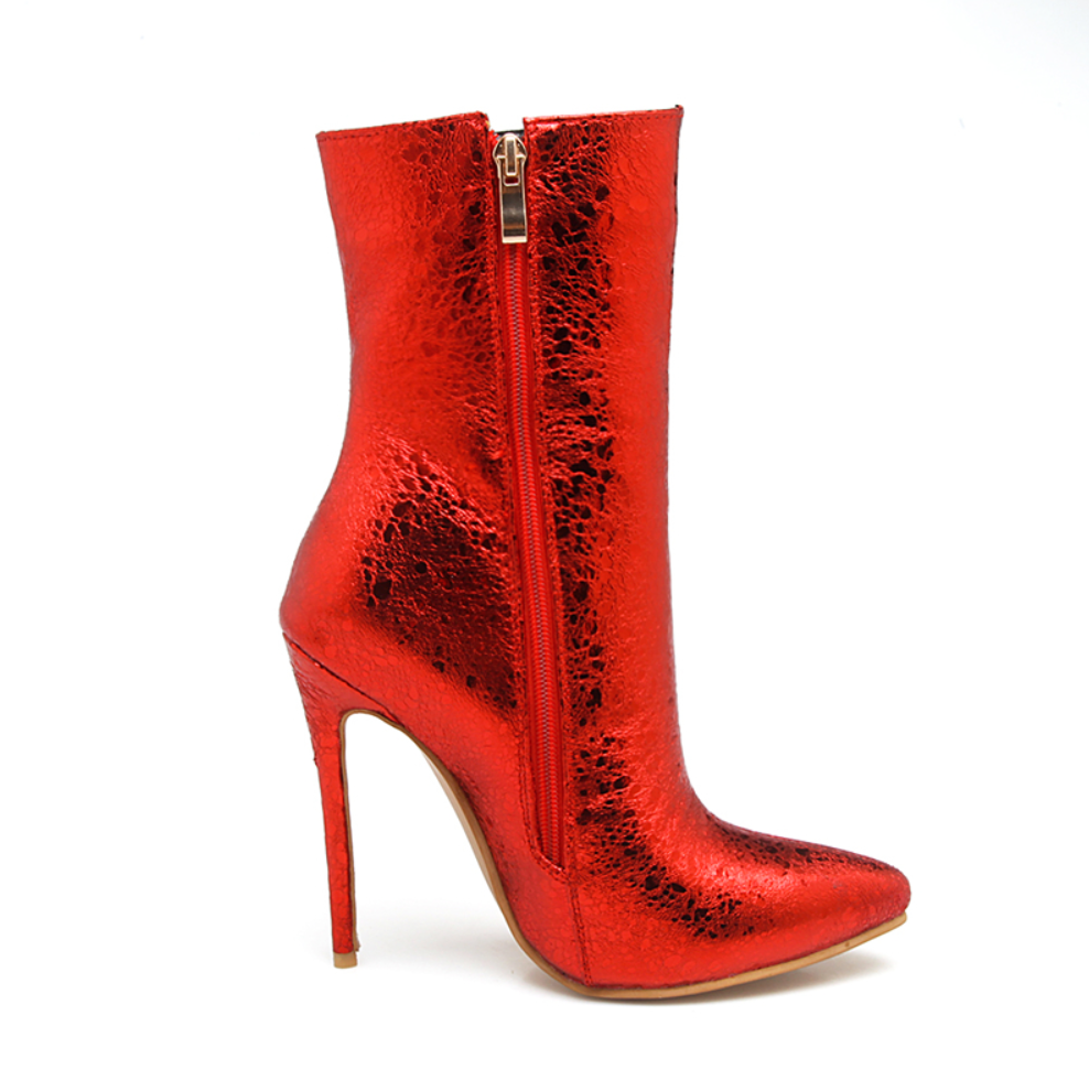 Foiled Boots - Black, Electric Blue, Hot Red, Silver