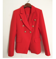 Bright Red Blazer - Gold Details - Classic Cut, Small through XXL