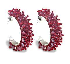 Spiked Hoop Earrings - Blush or Red