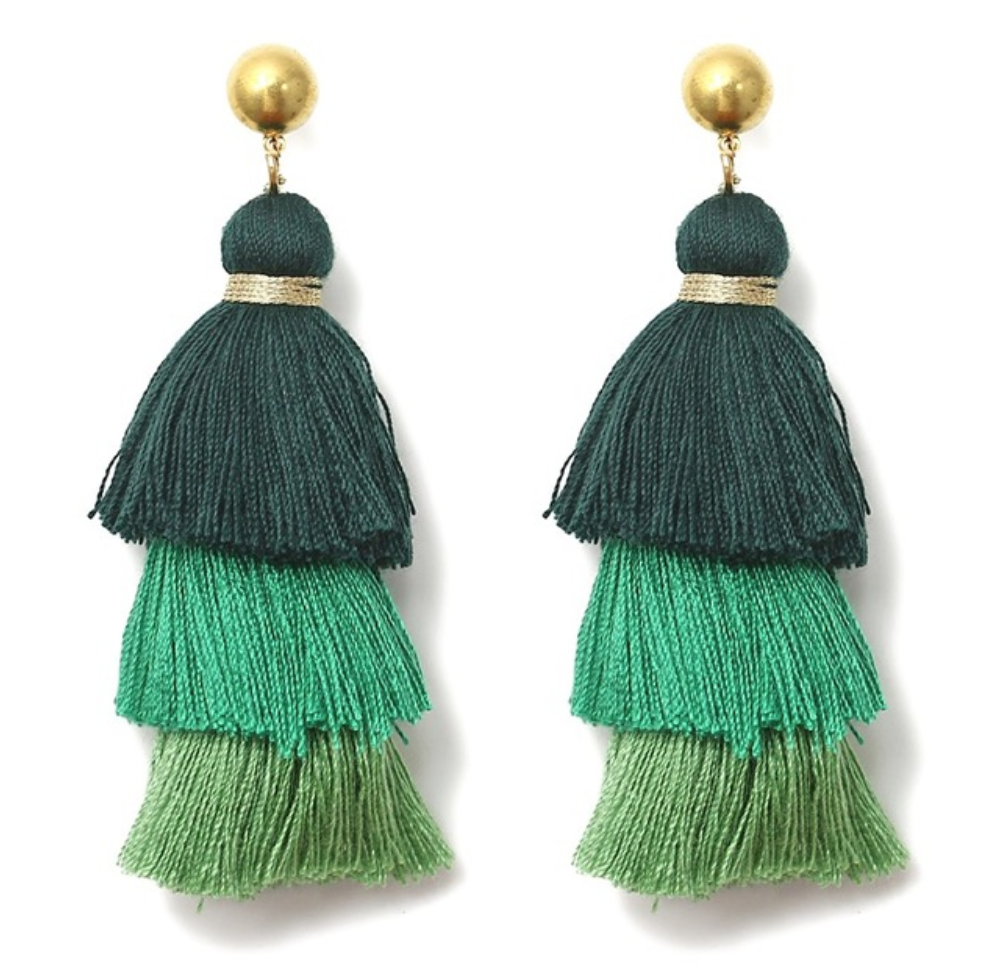 Tassel Earrings - Blue, Green, Red, Black