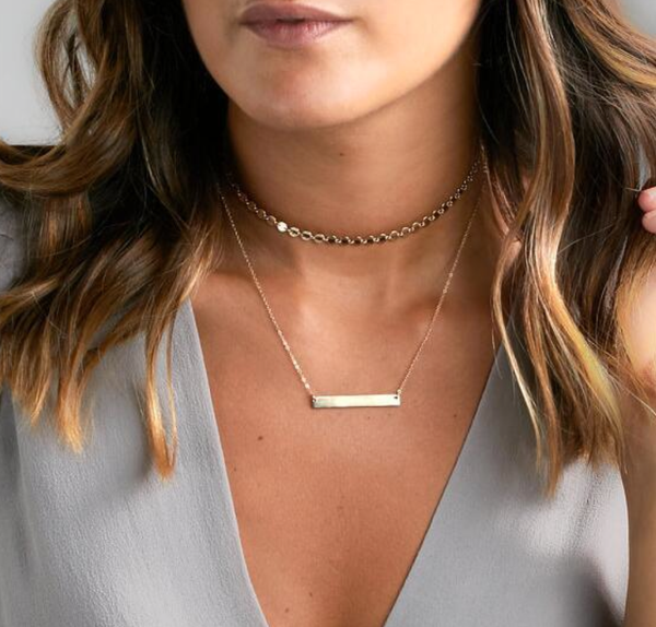 Bar Necklace Double Layer - Gold Finish - Best Seller since 2015