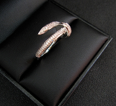 Nail Ring - Gold or Silver Finish - Australian Crystal Accents