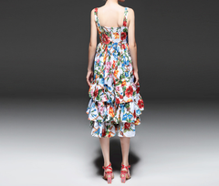 Sleeveless Floral Ruffled Day Dress - Inspired by Europe