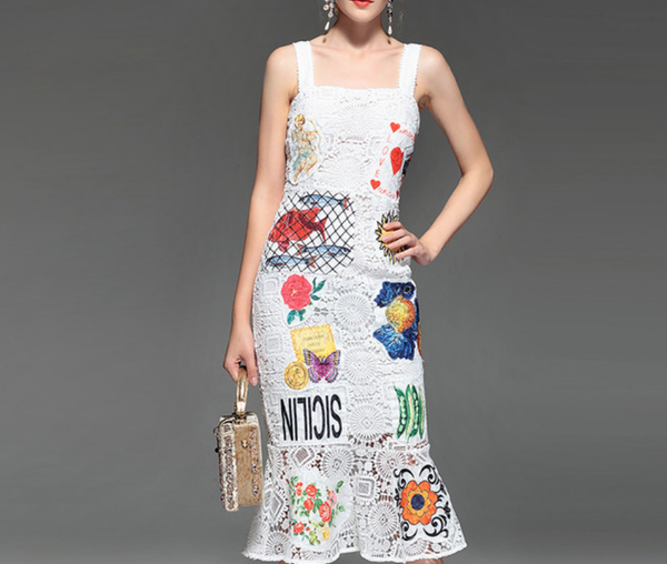 New Summer White Lace Patchwork Dress - CHIC Lace Dress