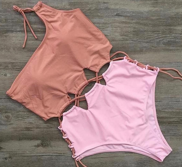 Millenial Pink One Pieec Swimwear - Monokini Nude and Pinks