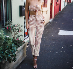 Nude and White Checkered 2 piece pant set - A Travel Must Have!