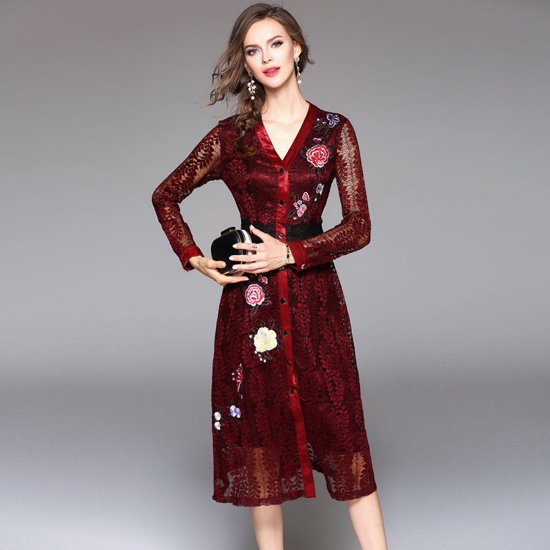 The perfect embroidered day dress Red