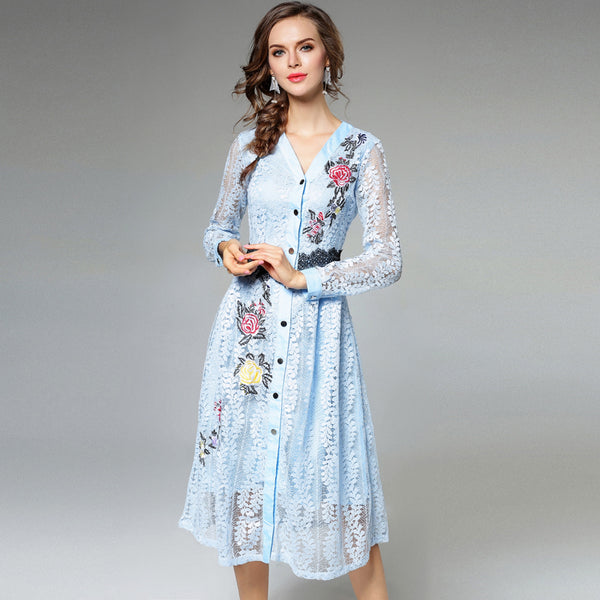 The perfect embroidered day dress Blue
