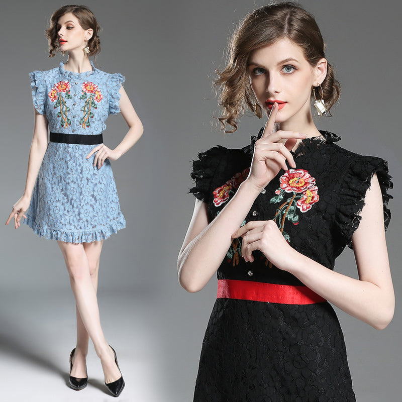 The Perfect Mini Lace Dress - Black or Blue with Embroidery