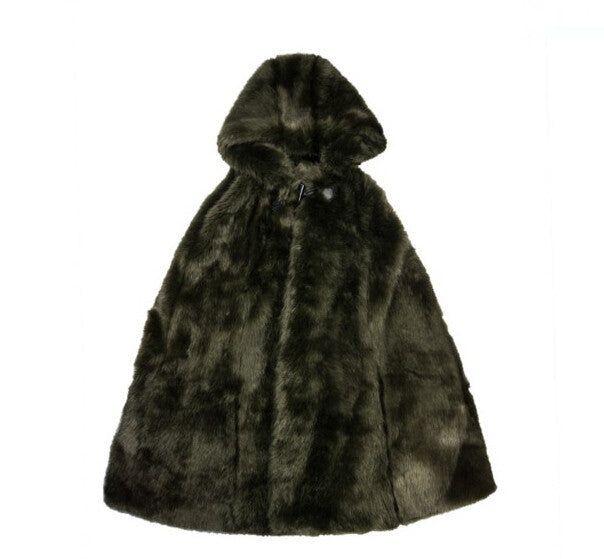 Long Shaggy Faux Fur Hooded Cape Coat