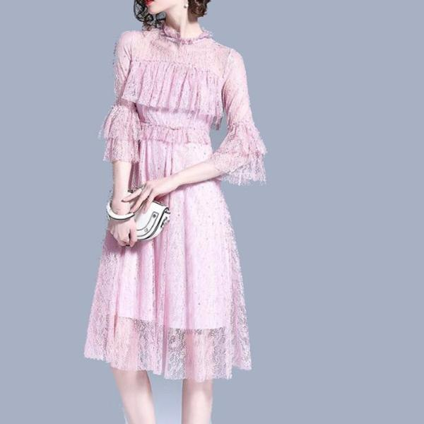 Ruffled Lace Day Dress - Midi Lace Dress Blush Pink or White